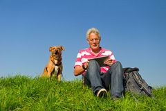 Senior outdoor with tablet PC Royalty Free Stock Photography