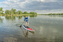 Senior paddler on stand up paddleboard. Senior male paddler on a paddleboard, lake in northern Colorado with an early summer scenery Royalty Free Stock Photography