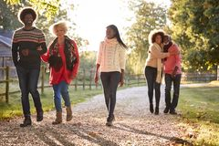 Senior Parents With Adult Offspring Enjoying Autumn Walk In Countryside Together stock photo