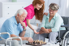 Senior patients with walking problems Stock Images