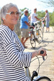 Senior people on bike ride Royalty Free Stock Photos