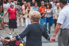 Senior people dance Sardana in Barcelona Royalty Free Stock Photography