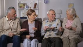 Senior people dissatisfied because of lack money, poor budget, social insecurity stock footage