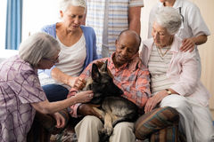 Senior people with doctor stroking dog while sitting on couch. At nursing home stock image