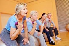 Senior people doing back training. Group of senior people doing back training exercises in a gym Stock Image