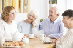 Senior people drinking tea Stock Image