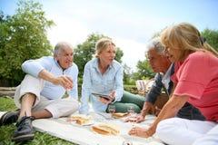 Senior people enjoying outdoors having a pic-nic Stock Images