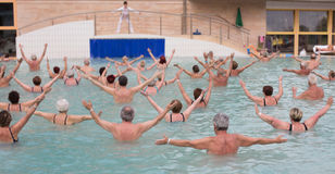 Senior people exercising in pool. Large group of senior people doing exercise in pool royalty free stock photography