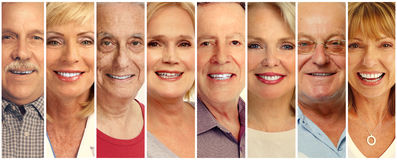 Senior people faces collection Royalty Free Stock Photos