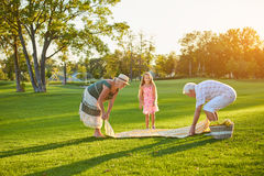 Senior people with grandchild, picnic. royalty free stock photography