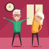 Senior people and gymnastics. Cartoon vector illustration Royalty Free Stock Image