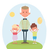 Senior people happy leisure time with granddaughter. Happy Grandfather with little granddaughter and grandson. Vector illustration Royalty Free Stock Image