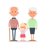 Senior people happy leisure time with granddaughter. Happy Grandparents with little granddaughter. Vector illustration Stock Photos