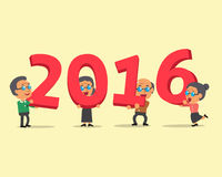 Senior people happy new year 2016. For design vector illustration