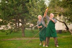 Senior people having fun. stock photo