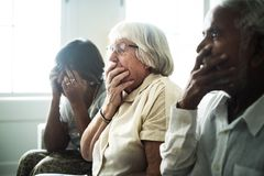 Senior people with a horrified reaction royalty free stock image