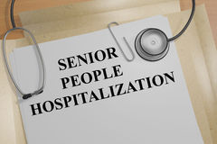 Senior People Hospitalization concept. 3D illustration of SENIOR PEOPLE HOSPITALIZATION title on a medical document Stock Photography
