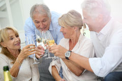 Senior people making toast spending good time together Stock Photos