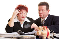 Senior people with many files Royalty Free Stock Images