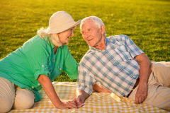 Senior people on meadow. Stock Image