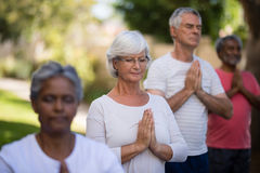 Senior people meditating in prayer position while standing Royalty Free Stock Photos