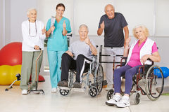 Senior people and nurse holding thumbs up Stock Photo