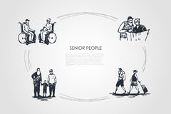 Senior people - old people sitting on wheelchairs, reading newspaper, travelling and walking with grandchildren vector concept set stock illustration