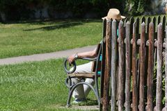 senior people relaxing in cloister park stock photos