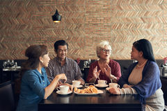 Senior people in restaurant royalty free stock photo