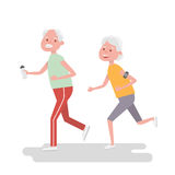 Senior people on scamper . Elderly woman run with armband for jogging. Adult people sport activities. Vector Illustration. Stock Photos