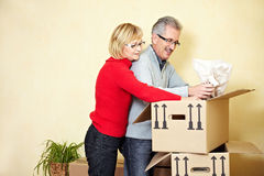 Senior people searching in moving. Two senior people searching stuff in a moving box stock photo