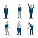 Senior people set. Character set of senior people, elderly, retired, old man with cane, backpain, happy. Simple and flat design royalty free illustration