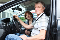 Senior people sitting in car Royalty Free Stock Image