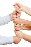 Senior people stacking fists Royalty Free Stock Photo