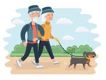 Senior People . Vector flat. Vector cartoon illustration of senior people. Elderly couple walking in the park with dog stock illustration