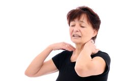 Senior person with neck pain. Senior (mature) woman with neck pain - isolated on white background Stock Image