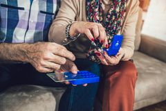 Senior Person Taking Medication, close up. Elderly Person Taking Medication, close up Royalty Free Stock Photos