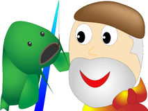 Senior - pescatore - un grande pesce ha preso una canna da pesca illustrazione vettoriale