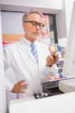Senior pharmacist using the computer Stock Image