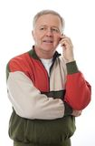 Senior at the phone Stock Photos