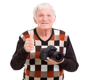 Senior photographer thumb up Stock Photography