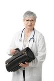 Senior physician with doctor's bag Stock Images