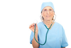 Senior physician showing stethoscope Stock Images