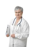 Senior physician with stethoscope. Looking at camera, smiling, white background Stock Photo