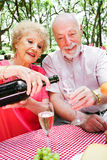Senior Picnic - Pouring Champagne Royalty Free Stock Image