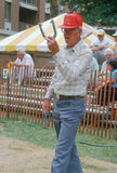 A senior playing a game of horseshoes Stock Photos