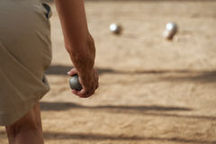 Senior playing petanque Royalty Free Stock Images