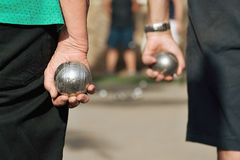 Senior playing petanque Stock Photos
