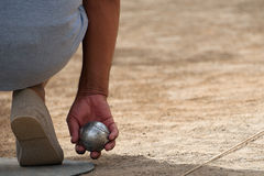 Senior playing petanque Stock Images