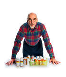 Senior with prescription bottles Royalty Free Stock Images